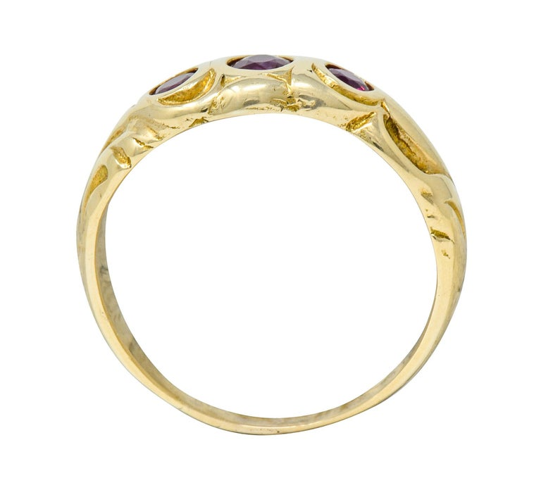 Art Nouveau Ruby 14 Karat Gold Three-Stone Band Ring For Sale 3