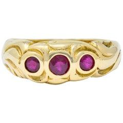 Art Nouveau Ruby 14 Karat Gold Three-Stone Band Ring