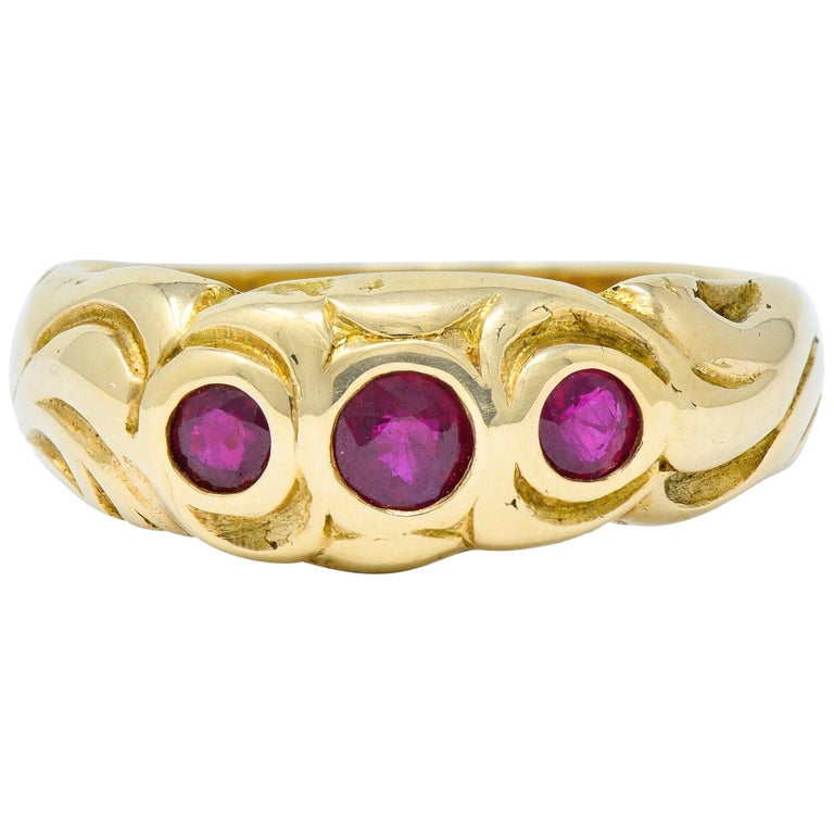 Art Nouveau Ruby 14 Karat Gold Three-Stone Band Ring For Sale