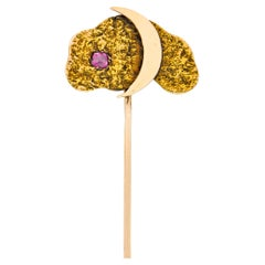 Art Nouveau Ruby 14 Karat Two-Tone Gold Crescent Moon Night Sky Stickpin