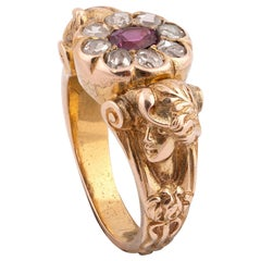 Art Nouveau Ruby and Diamond Cluster Ring, circa 1920