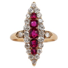 Art Nouveau Ruby and Diamond Ring, circa 1800s