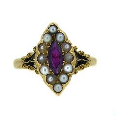 Art Nouveau Ruby and Pearl Antique Engagement Ring, 18 Carat, Edwardian 1912