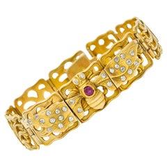 Art Nouveau Ruby Diamond 14 Karat Gold Bee Link Bracelet