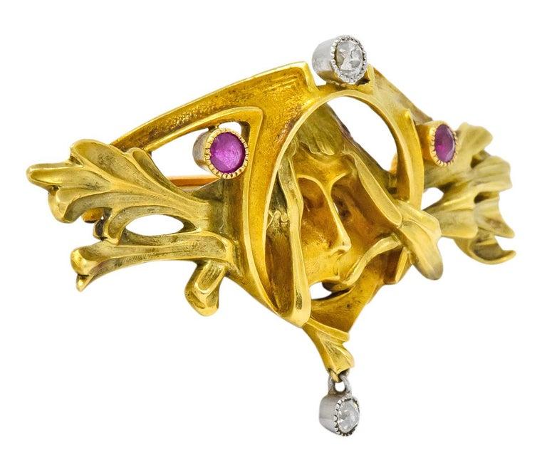 Old European Cut Art Nouveau Ruby Diamond 18 Karat Two-Tone Gold Green Men's Brooch For Sale