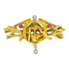 Art Nouveau Ruby Diamond 18 Karat Two-Tone Gold Green Men's Brooch
