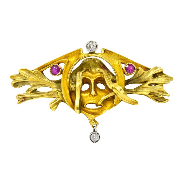 Art Nouveau Ruby Diamond 18 Karat Two-Tone Gold Green Men's Brooch For Sale