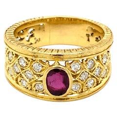 Art Nouveau Ruby Diamond Gold Band Ring