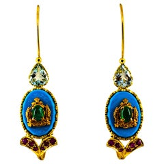 Art Nouveau Ruby Emerald Turquoise Aquamarine Yellow Gold Lever-Back Earrings