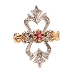 Art Nouveau Ruby Ornate Long Openwork Diamond 14 Karat Two-Tone Gold Ring