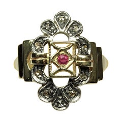 Art Nouveau Ruby Rose Cut Diamonds 14 Karat Yellow Gold Ring