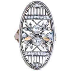 Art Nouveau Russian Diamond Ring Gold Silver, 1890