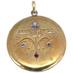 Art Nouveau Russian Gold Pendant Old-Cut Diamonds Ruby, 1910