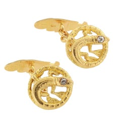 Art Nouveau Salamander Diamond Gold Cufflinks