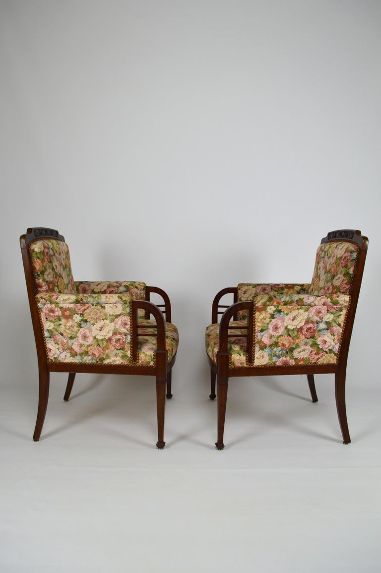 Art Nouveau Salon Set in Carved Mahogany on a Floral Theme, circa 1900 For Sale 7