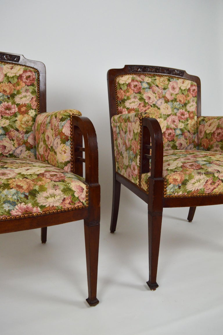 Art Nouveau Salon Set in Carved Mahogany on a Floral Theme, circa 1900 For Sale 9