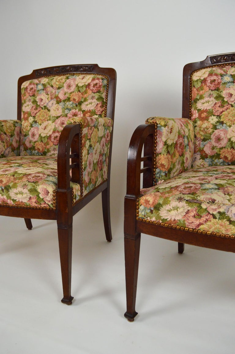 Art Nouveau Salon Set in Carved Mahogany on a Floral Theme, circa 1900 For Sale 10
