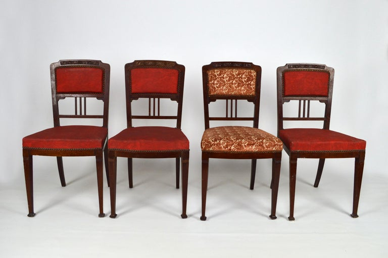 Art Nouveau Salon Set in Carved Mahogany on a Floral Theme, circa 1900 For Sale 13