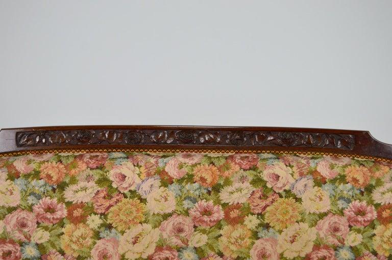 Textile Art Nouveau Salon Set in Carved Mahogany on a Floral Theme, circa 1900 For Sale