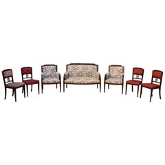 Art Nouveau Salon Set in Carved Mahogany on a Floral Theme, circa 1900
