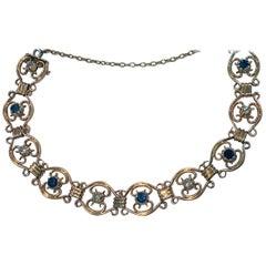 Art Nouveau Sapphire Diamond Gold Bracelet, circa 1910