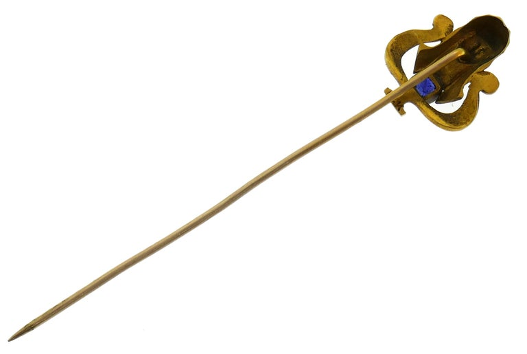 Art Nouveau Sapphire Enamel Gold Hat Stick Pin, 1930s Egyptian Revival Stickpin In Good Condition For Sale In Beverly Hills, CA
