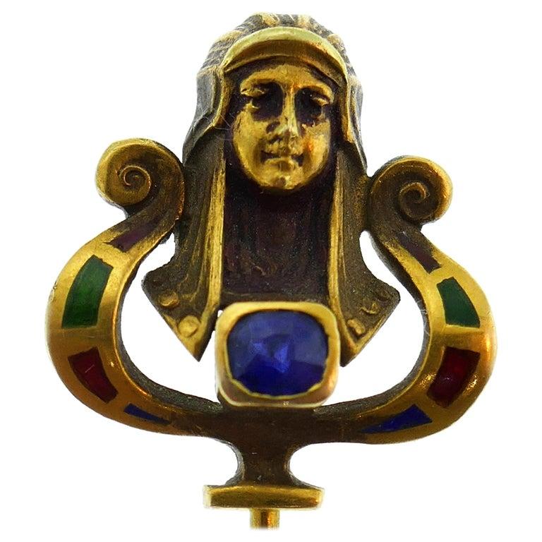 Art Nouveau Sapphire Enamel Gold Hat Stick Pin, 1930s Egyptian Revival Stickpin For Sale