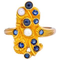 Art Nouveau Sapphire Pearl 14 Karat Gold Flower Dinner Ring