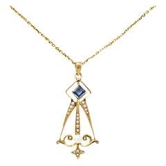 Art Nouveau Sapphire Pearl 14 Karat Gold Pendant Drop Necklace