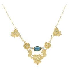 Art Nouveau Sapphire Pendant Necklace, 18k Gold with Modern Chain 1.20 Carat