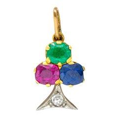 Art Nouveau Sapphire Ruby Diamond Platinum-Topped 18 Karat Gold Clover Charm