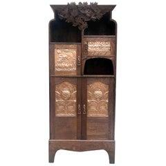 Art Nouveau Scottish Mackintosh Style Cabinet Carved Oak Floral Copper Panels