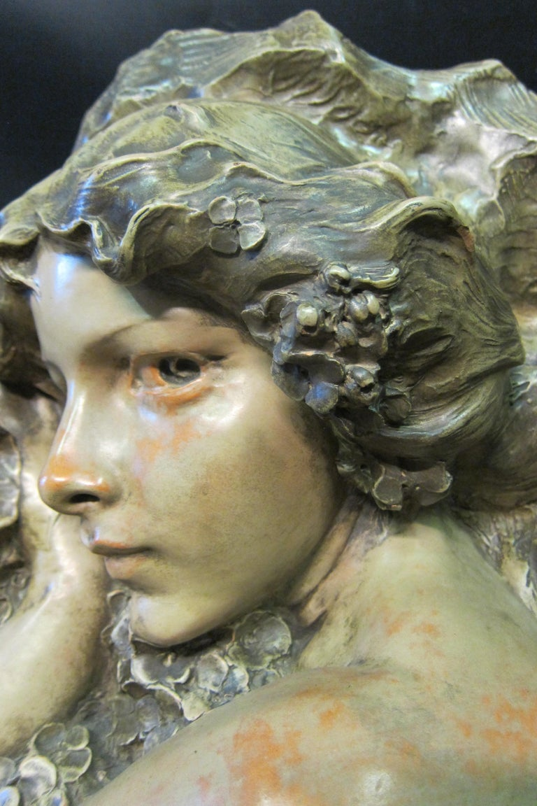 Italian Art Nouveau Sculpture in Terra Cotta For Sale
