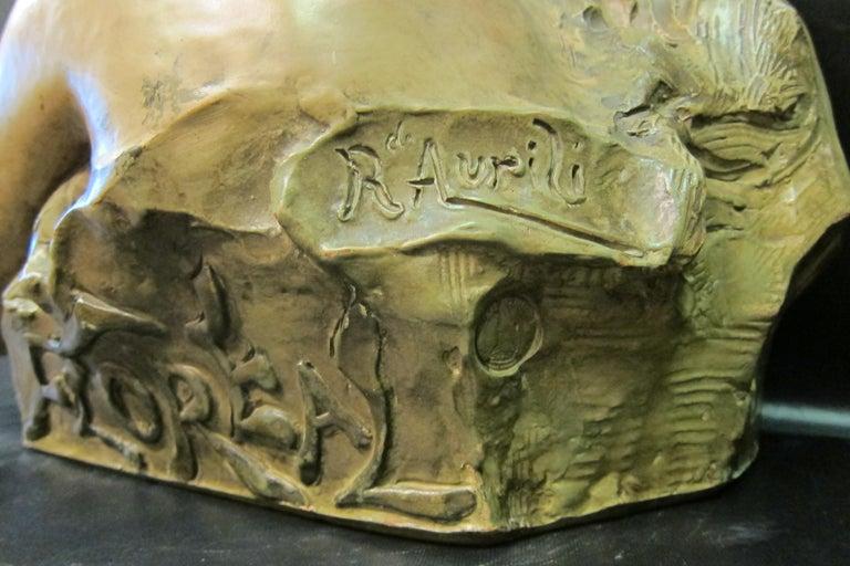 Terracotta Art Nouveau Sculpture in Terra Cotta For Sale
