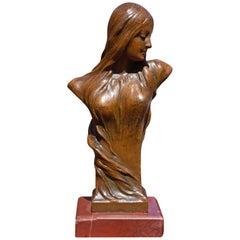 Art Nouveau Sculpture of a Young Woman