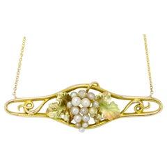 Art Nouveau Seed Pearl Necklace Grape Cluster Enamel Antique Yellow Gold Bar