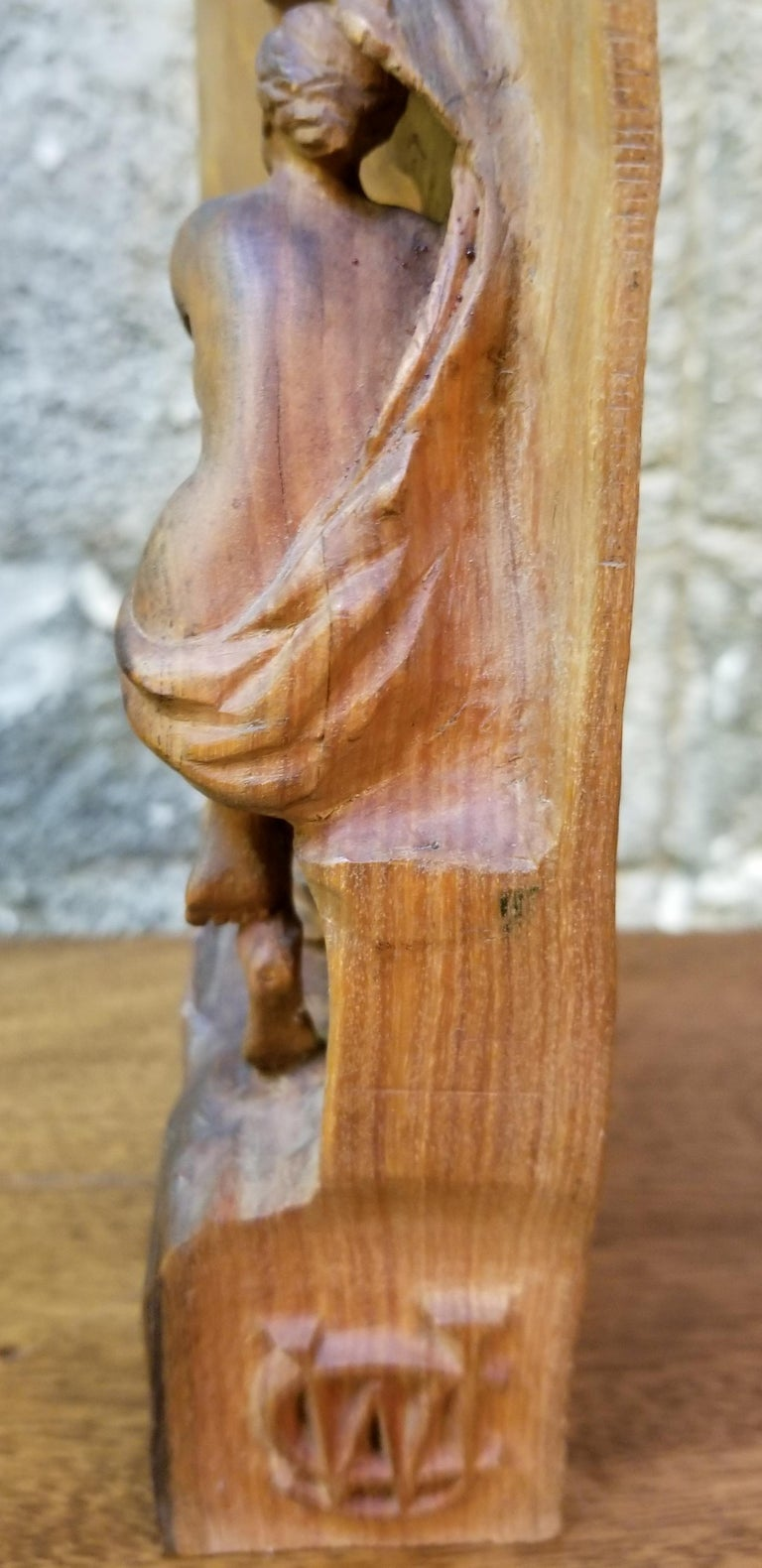 Art Nouveau Semi Nude Wood Carving of Ariadne Goddess of Wine For Sale 4