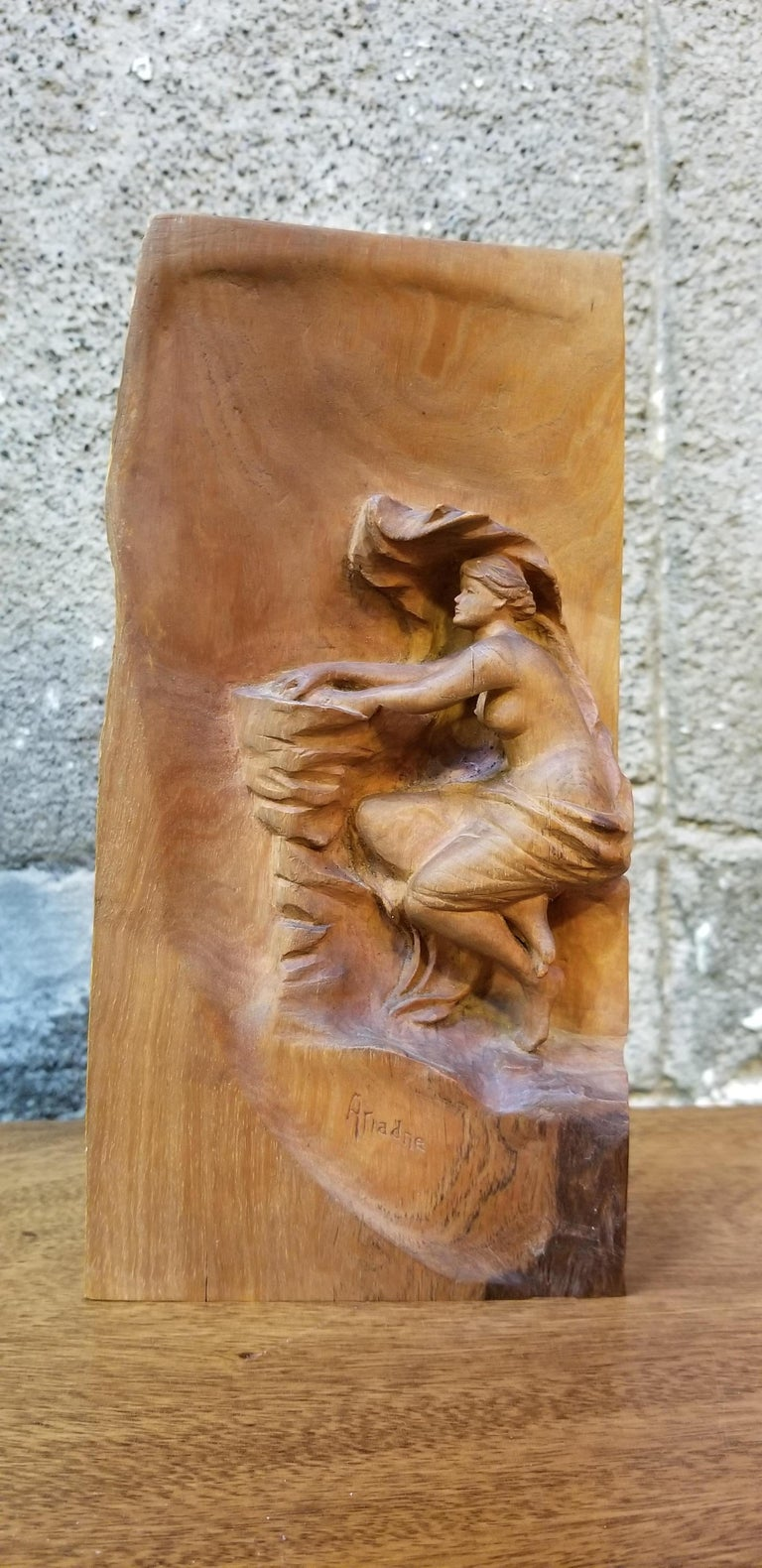 Art Nouveau Semi Nude Wood Carving of Ariadne Goddess of Wine For Sale 5