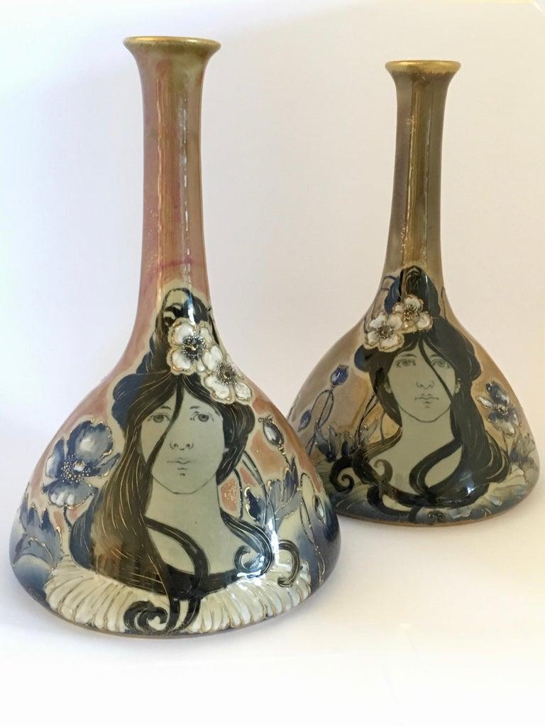 Art Nouveau Set Vases Enameled Amphora Porcelain Riessner Stellenmacher, 1900 For Sale 4