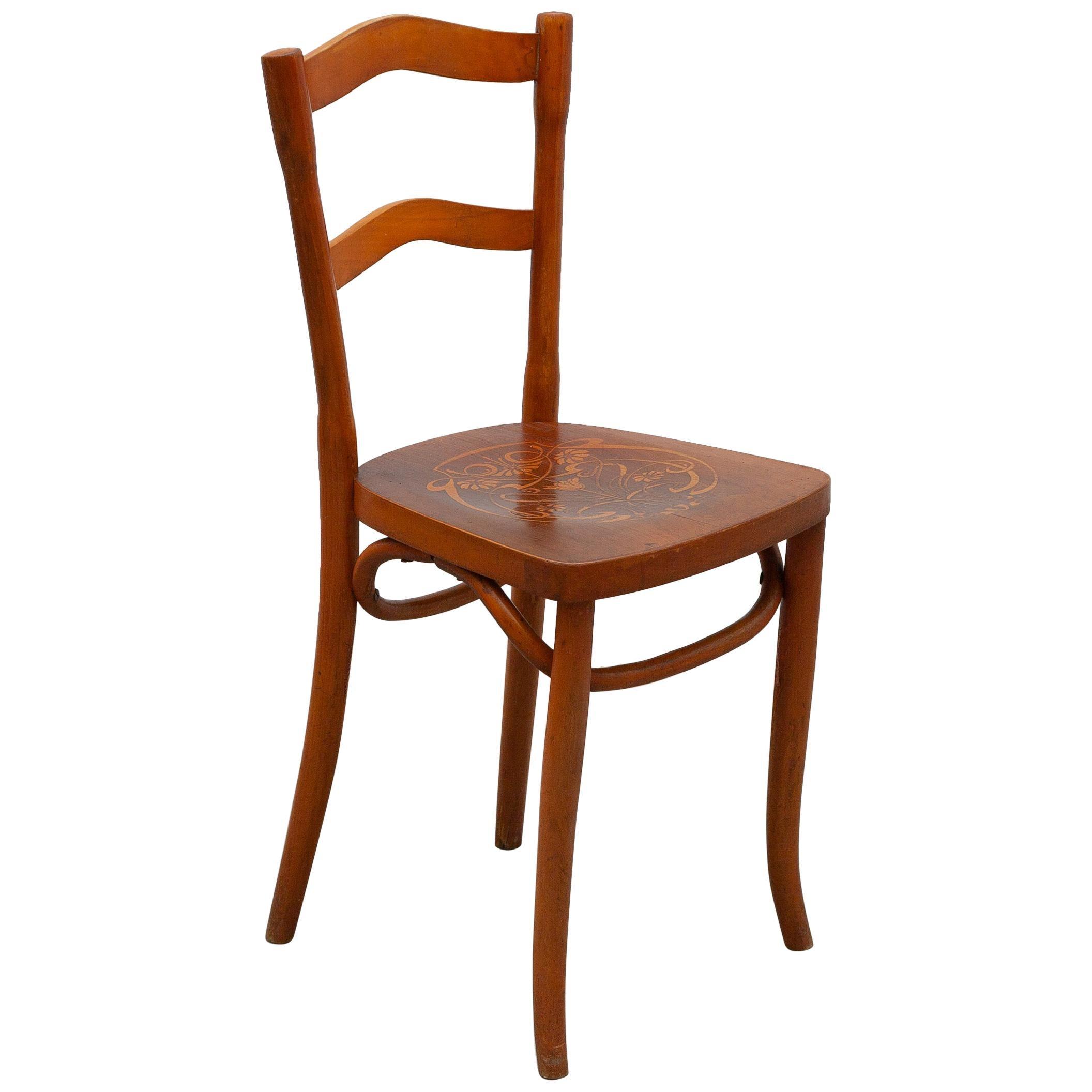 Art Nouveau Side Chair Designed by Thonet, Austria, 1910