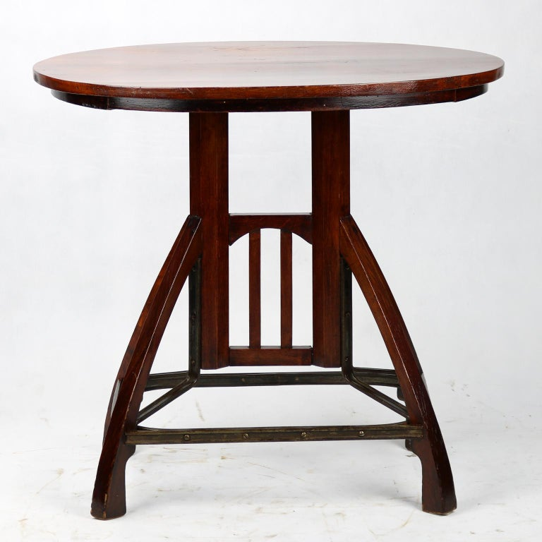 Art Nouveau beechwood side table, originally made to order by manufacture in Budapest, circa 1900.