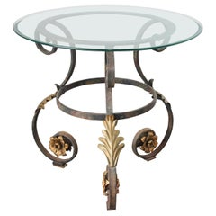 Art Nouveau Italian Glass Table top with Iron frame Indoor or Outdoor