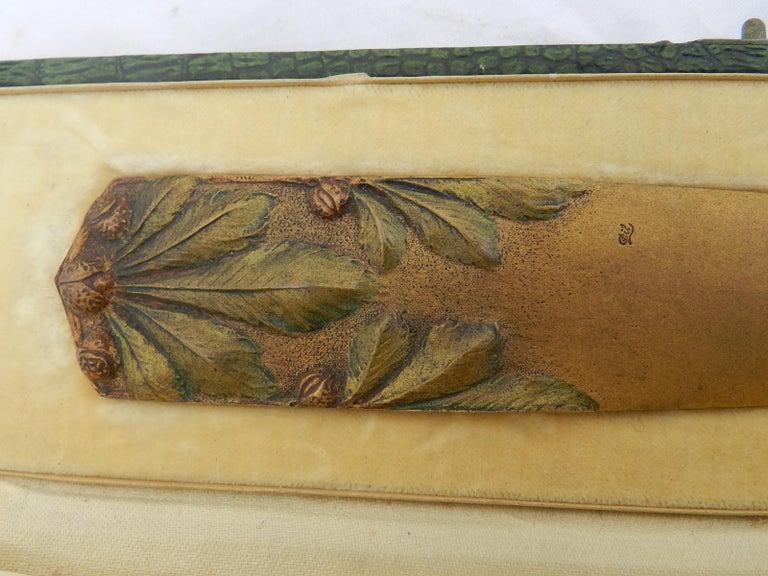 Art Nouveau Signed Gilt Bronze Letter Opener Desk One of a Kind Desk Accessory For Sale 2