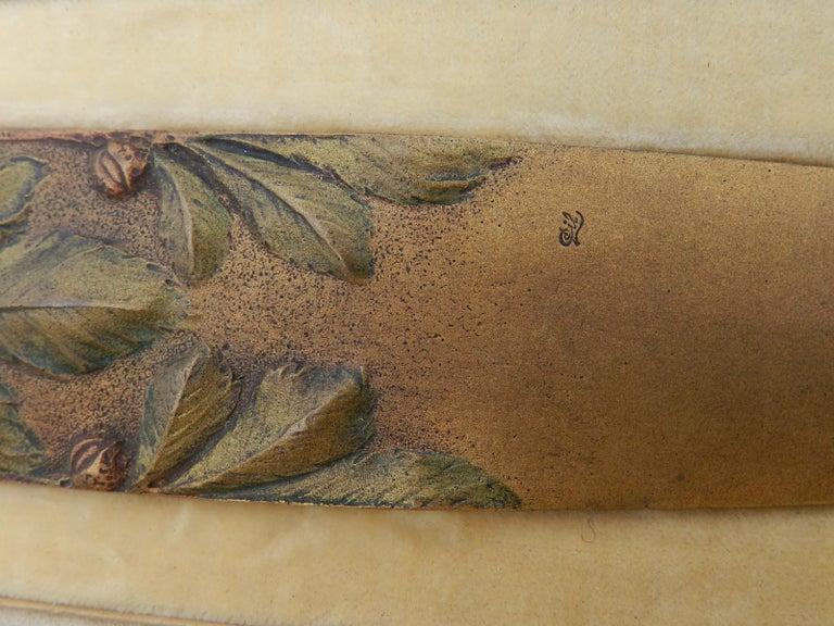 Art Nouveau Signed Gilt Bronze Letter Opener Desk One of a Kind Desk Accessory For Sale 3