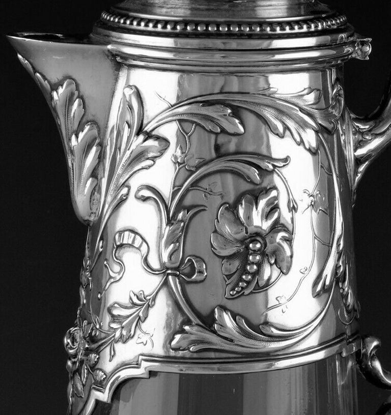 Art Nouveau Silver and Glass Claret Jug, Germany circa 1900 J. Mayers Sohne In Fair Condition For Sale In Toronto, Ontario