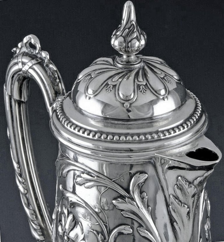 Art Nouveau Silver and Glass Claret Jug, Germany circa 1900 J. Mayers Sohne For Sale 1