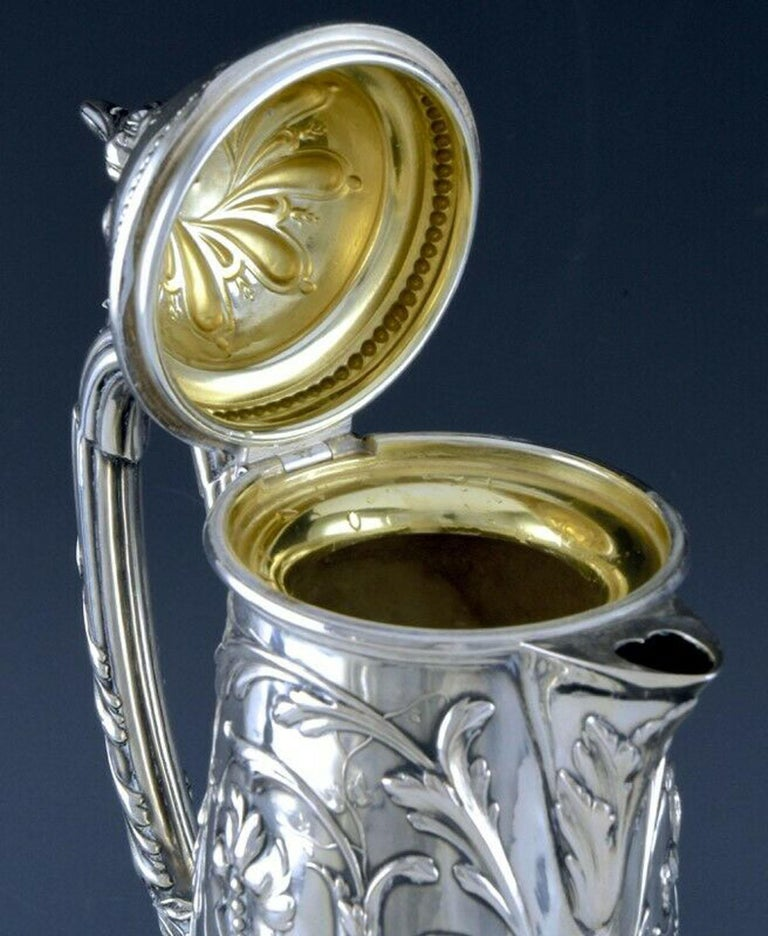Art Nouveau Silver and Glass Claret Jug, Germany circa 1900 J. Mayers Sohne For Sale 2
