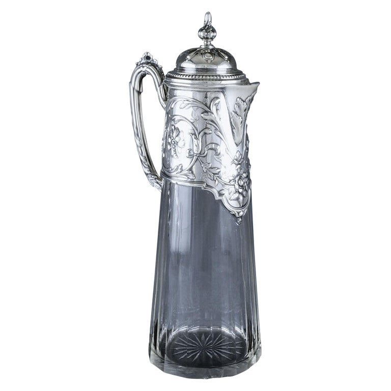 Art Nouveau Silver and Glass Claret Jug, Germany circa 1900 J. Mayers Sohne For Sale