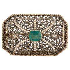 Art Nouveau Silver and Gold Emerald Brooch
