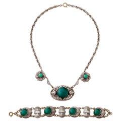 Art Nouveau Silver and Green Cabochon Necklace and Bracelet